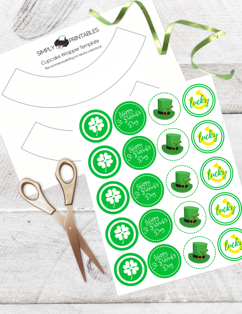 photo about St Patrick's Day Cards Free Printable named Cost-free Printable St. Patricks Working day Cupcake Toppers -