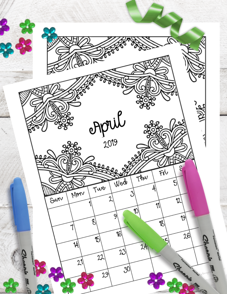graphic regarding Printable Monthly Prayer Calendar titled Absolutely free Printable 2019 Month to month Coloring Calendar Webpages -