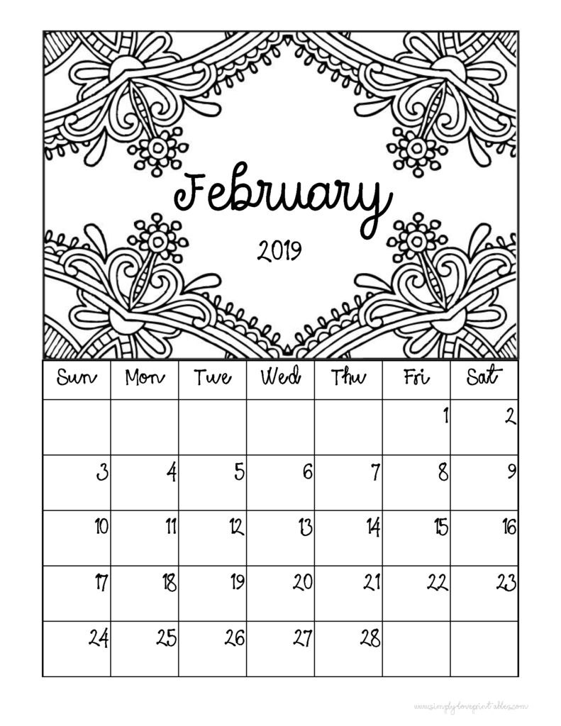 picture relating to Printable Coloring Calendar identified as Totally free Printable 2019 Regular monthly Coloring Calendar Internet pages -