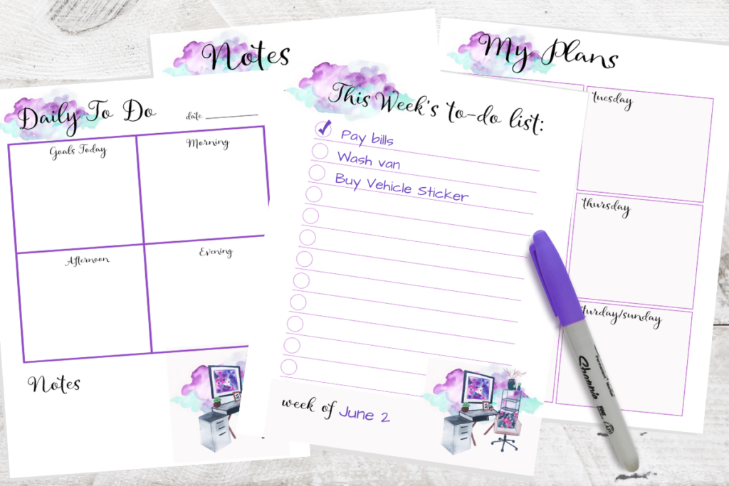 photo relating to Free to Do List Printables identify No cost Printable Watercolor In direction of-Do Planner Web pages -