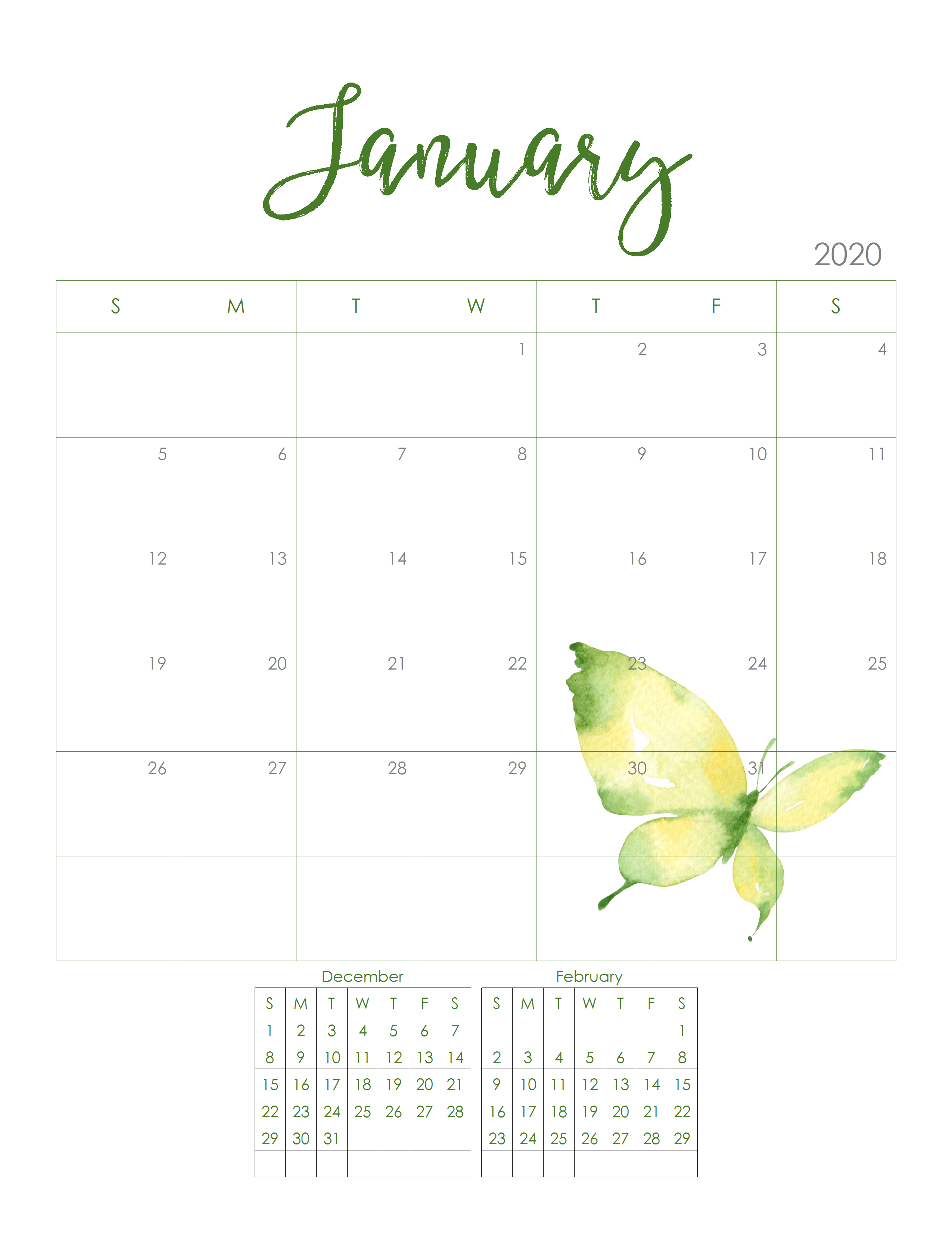 This is a photo of Superb Free Printable Monthly 2020 Calendars