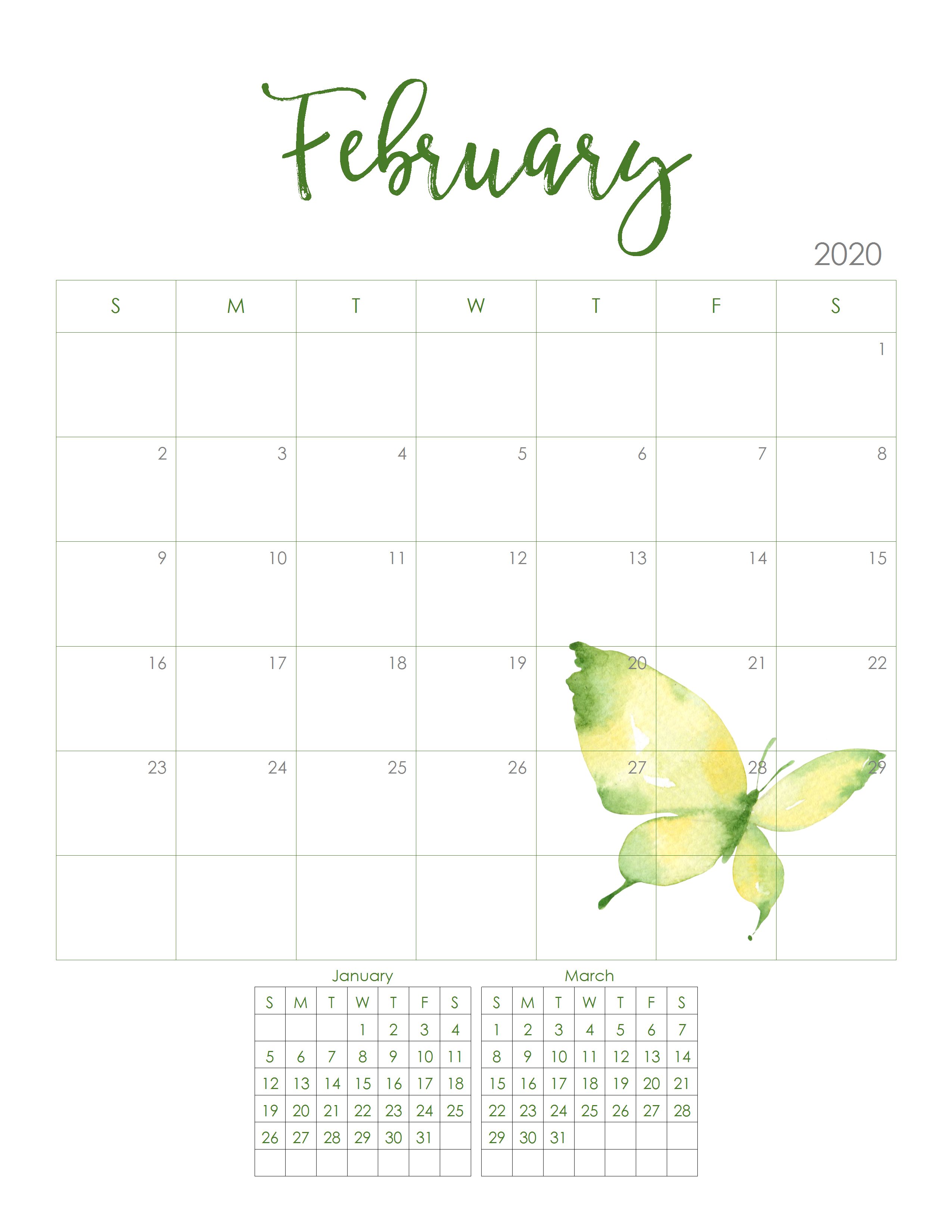 This is a graphic of Clean Free Printable Calendars Feb 2020